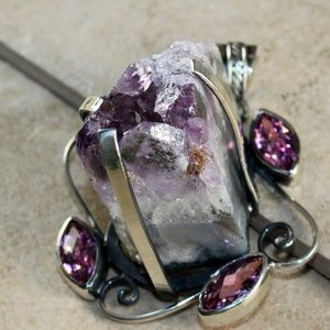 Accessories - SILVER Vintage Nature Amethyst Crystal Jewelry